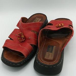 Josef Seibel Red Leather Slip On Open Toe Sandals